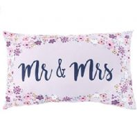 Pretty 'Mr and Mrs' Floral Cushion